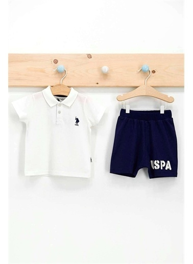 U.S. Polo Assn. Lisanslı Mavi Erkek Bebek Dik Yaka T-Shirt Takım Krem